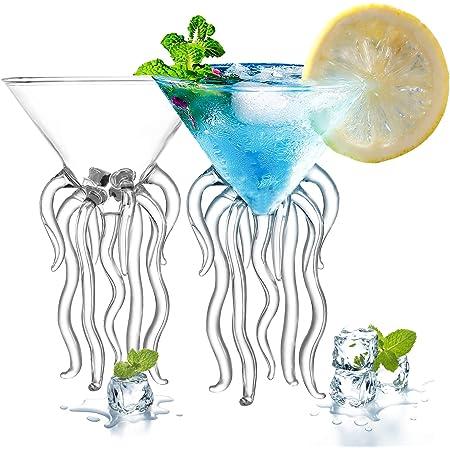Cerahome Transparent Martini Creative Jellyfish Glass WXZQ Transparent Octopus Cocktail Glass