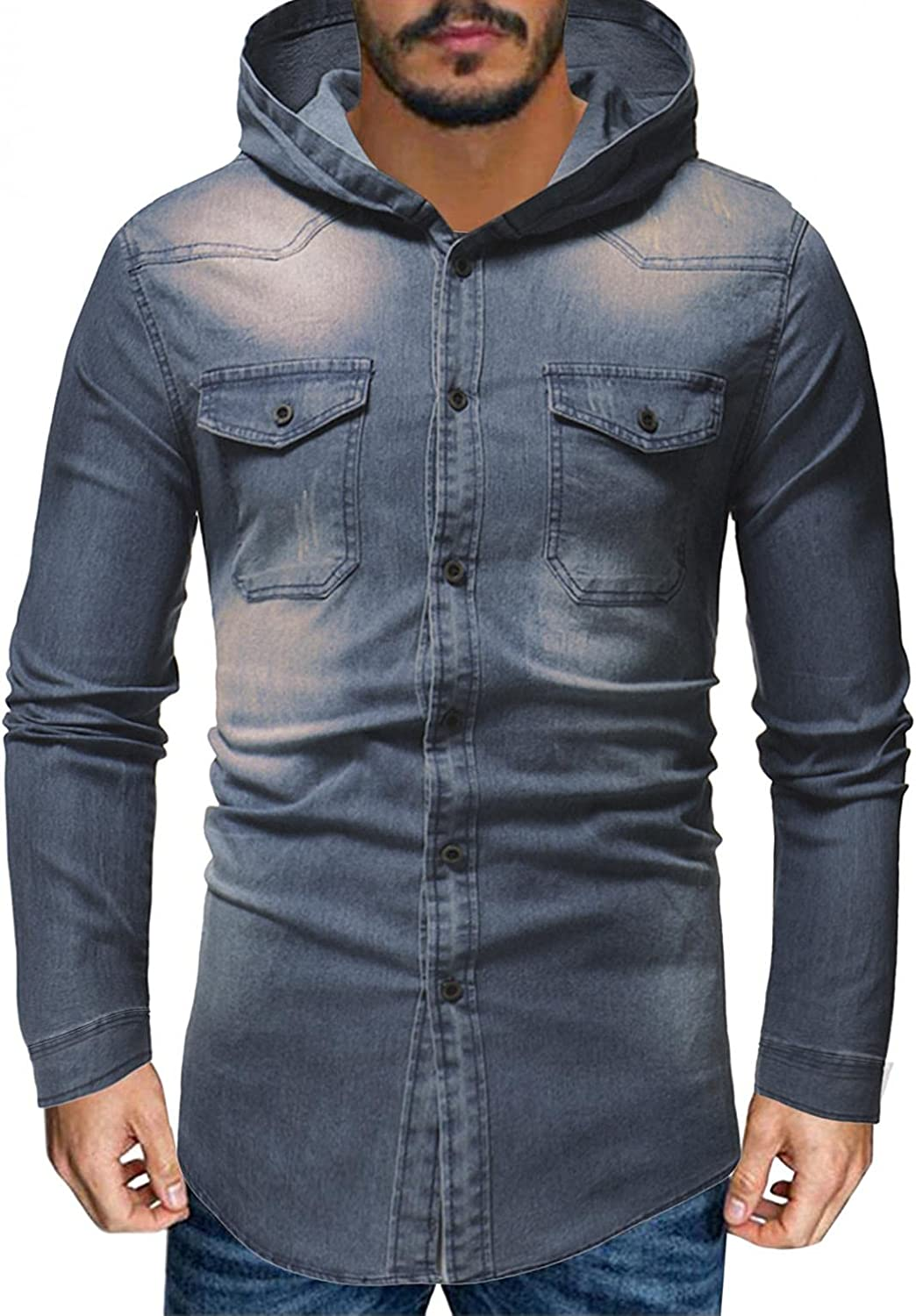 Online Superior limited product VEKDONE Jean Jacket for Mens Long Sleeve Hoodies Fashio Slim-Fit