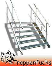 Anstellh/öhe variabel von 199 cm bis 240 cm feuerverzinkte Stahltreppe mit 1000 mm Stufenl/änge als montagefertiger Bausatz Au/ßentreppe 12 Stufen 100 cm Laufbreite Gitterroststufe ST3 beidseitiges Gel/änder