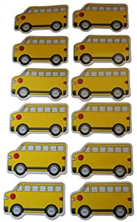 Novel Merk Yellow School Bus Truck Small Refrigerator Magnets Set for Kids Party Favors & School Carnival Prizes Miniature Design (12 Pieces)