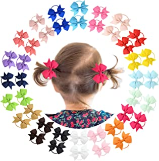 40Piece Baby Hair Ties Elastic Bows Ponytail Hair Barrettes Ribbon Hair bands For Babies Girls Toddlers