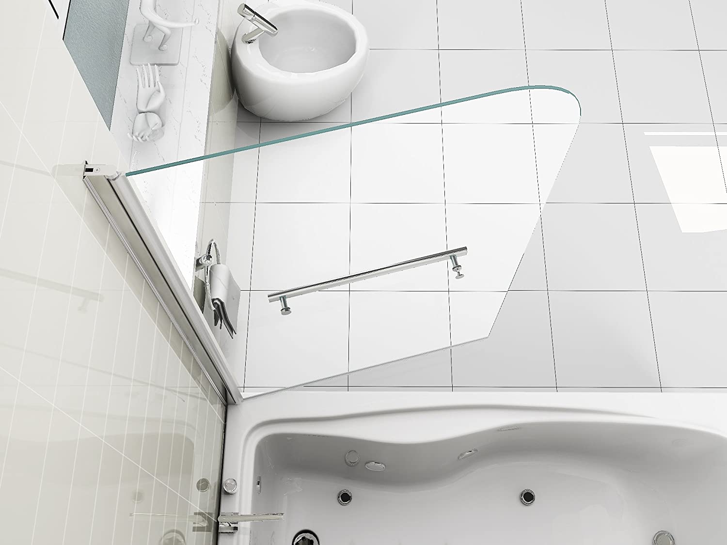 HNNHOME 180 degree Pivot 6 mm Glass Single Panel Over Bath Shower Screen With Towel Handle