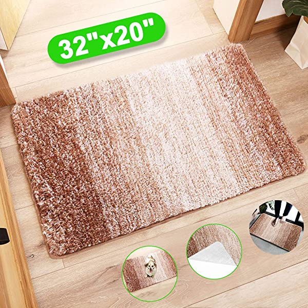 Indoor Doormat Front Door Mat Super Absorbent Entrance Rug Non Slip Back Door Mats Dirt Trapper Entry Rugs Inside Machine Washable Door Carpet For Entryway 32 X20 Brown Beige