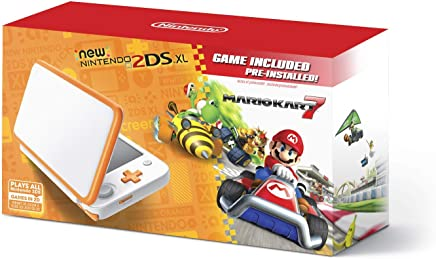 $144 Get New Nintendo 2DS XL Handheld Game Console - Orange + White With Mario Kart 7 Pre-installed - Nintendo 2DS (Renewed)