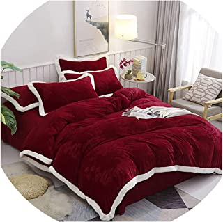 HANBINGPO Purple Grey Pink Baby Embossing Duvet Cover Pillowcase Bed Sheet Adults Bedding Sets 4Pcs Queen King Size Bedlinen,8,King Size 4pcs