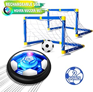 Kids Toys Hover Soccer Ball Set with 2 Goals, Air Soccer with LED Light, USB Rechargeable Floating Soccer Ball with Foam B...