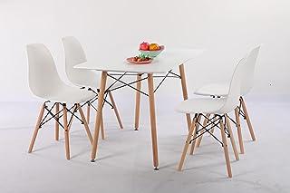 H.J WeDoo Tables de Salle à Manger, 4 Chaises Scandinaves et Tables Rectangulaire Meubles de Salle à Manger pour la Maiso...