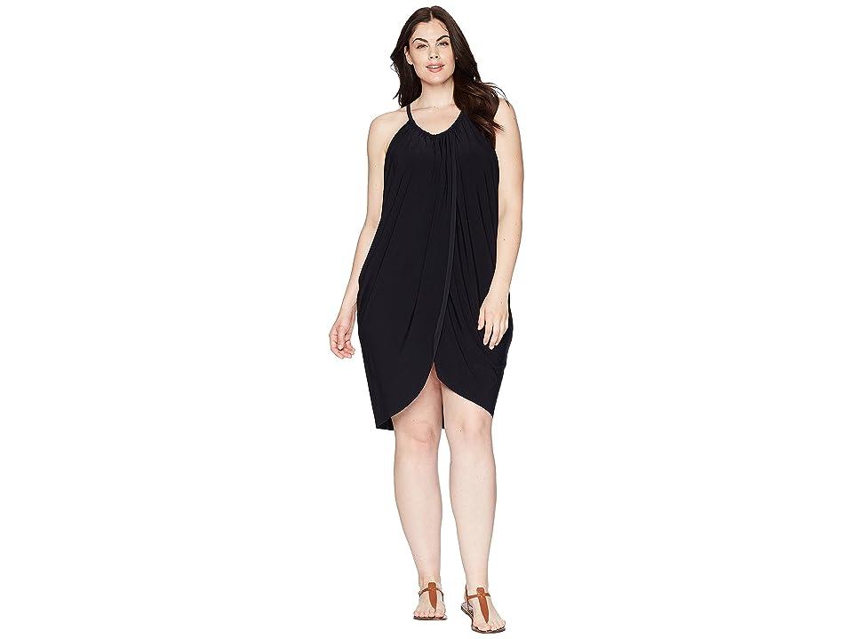Magicsuit Plus Size Draped Cover-Up (Black) Women