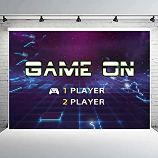 PHMOJEN Game On Party Backdrop Retro Arcade Gaming Boy Birthday Party Baby Shower Vinyl 10x7ft Banner Virtual Space Photography Background Photo Studio Props LHPH280