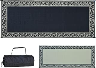 Ming's Mark RC1 Stylish Camping Reversible Classical Patio Mat - 8' x 20', Black/Beige