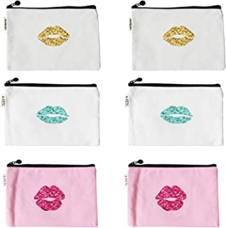 Lips Pattern Makeup Cosmetic Travel Pouches Toiletry Bag Cases with Zipper for Women and Girls, 3 Colors, 6 Pieces