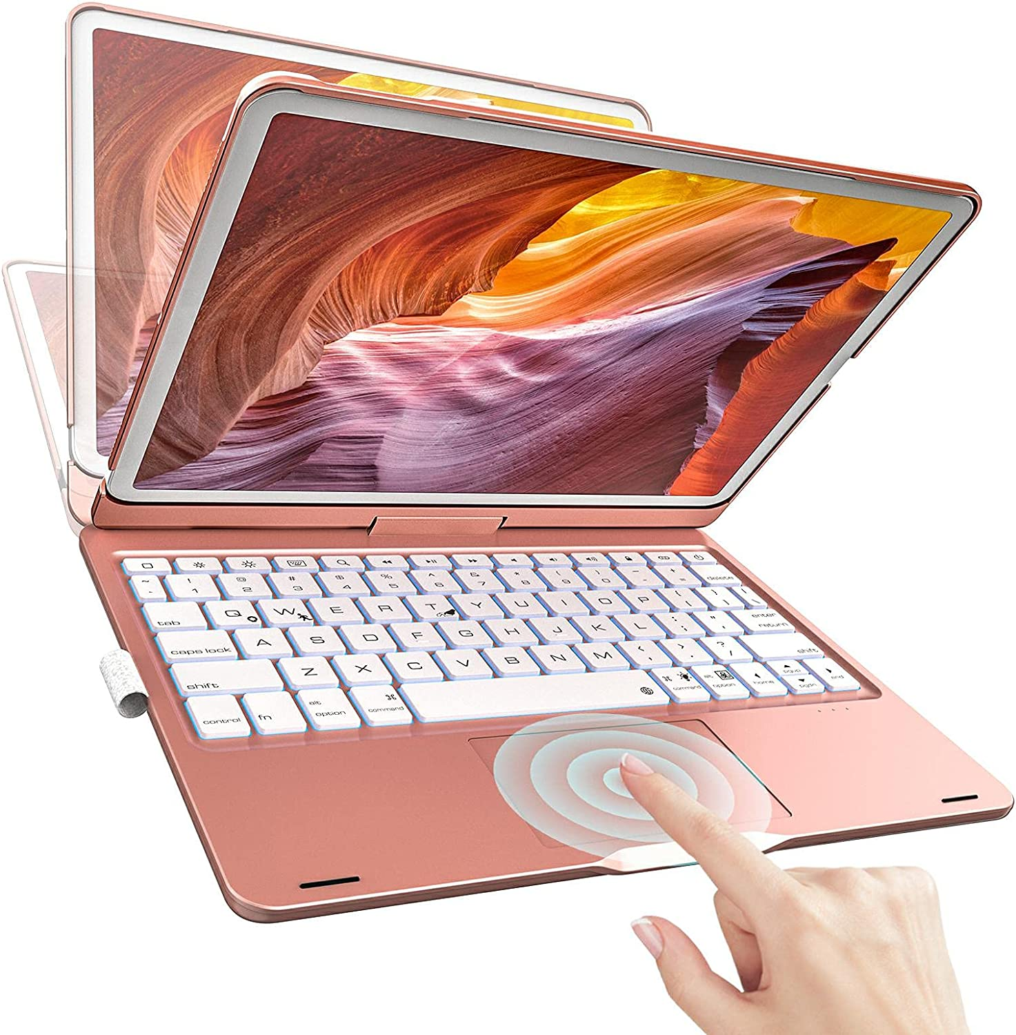 iPad Keyboard Case for 10.2 inch iPad 8th Gen 2020, 7th Gen 2019, Touchpad Keyboard Compatible with 10.5 inch iPad Air 3 2019, Pro 2017,360 Rotatable Backlight Keyboard with Pencil Holder (Rose Gold)