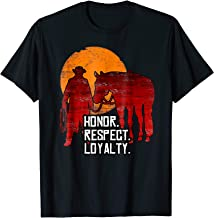Red Horse Sunset T-Shirt - Honor Respect Loyalty Cowboy