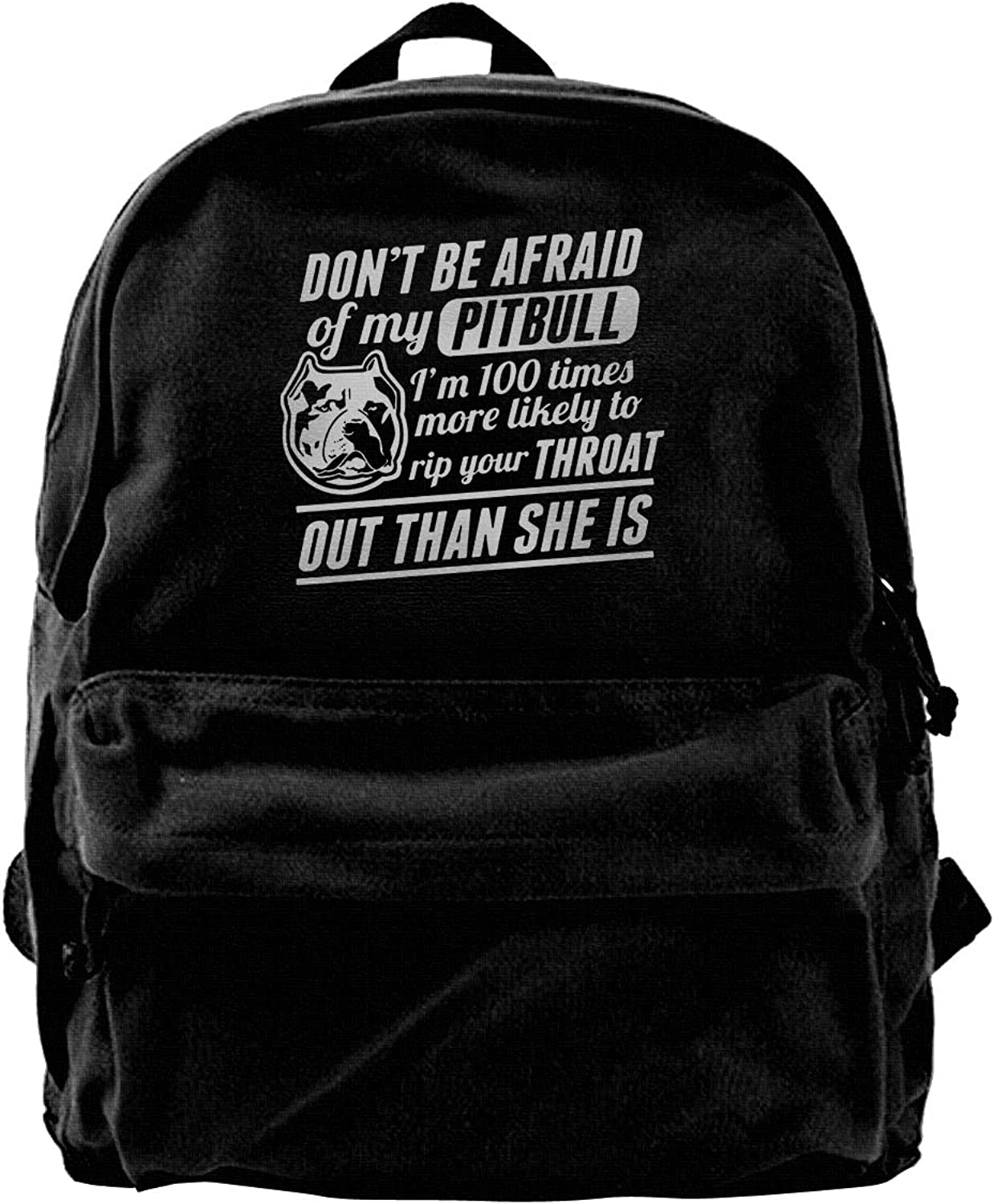 Don't Be Afraid of My Pitbull Fashion Lightweight Canvas Travel Backpack for Women & Men