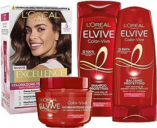 L'Oréal Paris Kit Cura & Colore Capelli Castano, Box con Tinta Capelli Excellence Castano Chiaro 5, Shampoo, Balsamo e Mas...