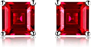 925 Sterling Silver 18k White Gold Plated 1.6ct Square Ruby Sapphire Emarald Stud Earrings
