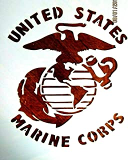 Stencil Reusable United States Marine Corps Stencil 10 mil Mylar Laser Cut for Painting on Wood, Art Craft, Airbrush, 7 1/2 x 6 1/2