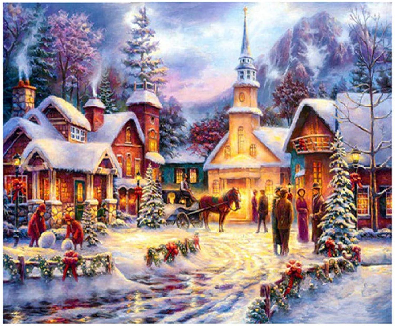 5D Pintura Diamante Navidad Nieve Casa rojoondo Resina Diamante DIY Mosaico Bordado Mosaico Decoración para el Hogar, 70X120Cm