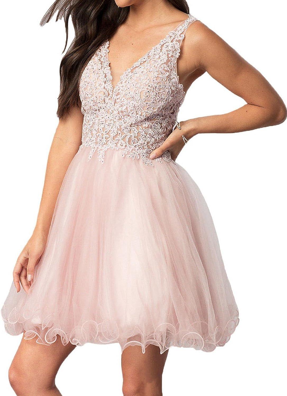 JoyVany Women Beading Tulle Homecoming Dresses Short 2018 Formal Gowns JH058