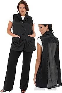 A Size Above Plus Size Vented Mesh Back Salon Stylist Vest, Black, 3X