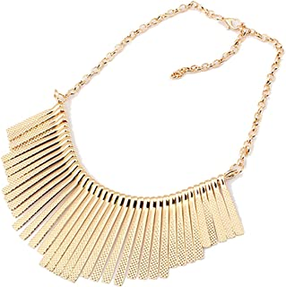 (TM Vintage Choker Necklace Metal Strip Tassel Style Bib Necklace Jewelry
