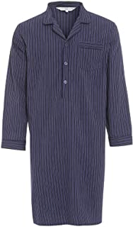 Mens Long Sleeve Nightshirts in Block Size Polyester Cotton Rich Lounge Wear Night Dress Plain Stripe and Check Design Cas...
