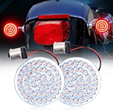 Motorcycle 2 Inch Turn Signal Led Bulbs Inserted Bullet Style 1156 Rear Red LED Brake Tail Light for Harley Sportster XL883 2002-2014 FXD Dyna Super Glide 2002-2010