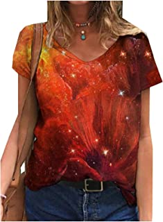 Comaba Womens Floral Printed Blouse V Neck Short Sleeves Summer Casual Tees