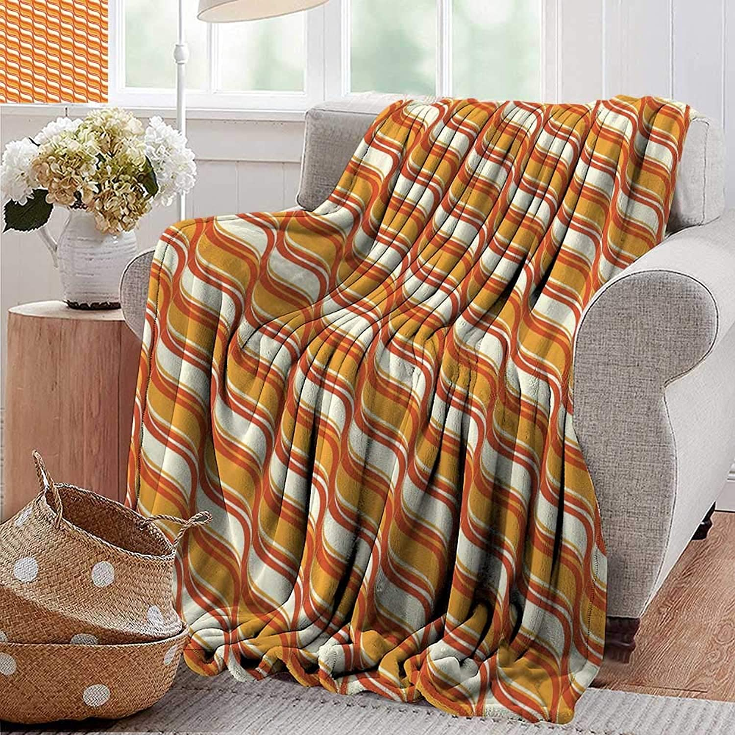 PearlRolan Weighted Blanket for Kids,Geometric,Ornamental Waves Composition Various Wavy Lines in Earthen Tones Classical,orange Cream,Weighted Blanket for Adults Kids, Better Deeper Sleep 50 x70