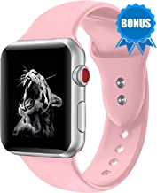 NOMBARGO Sport Watch Band Replacement for Apple Watch Band 42mm 44mm Comfortable Silicone Wrist Band Compatible with Series 1 to 5 (Pink)