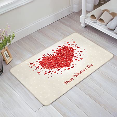 Amazon Com Yeho Art Gallery Valentine S Day Decorative Doormat Happy Valentine S Day Heart Shaped Pattern Entry Way Outdoor Door Mat With Non Slip Backing 18 L X 30 W Kitchen Dining