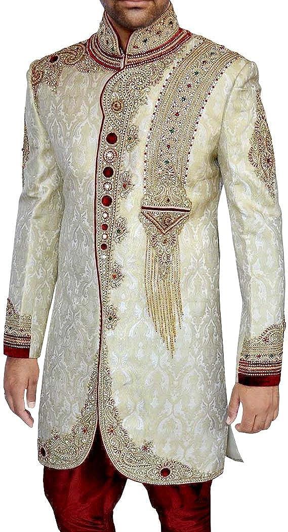 INMONARCH Wedding Sherwani Beige Indo Western Suit Wedding Sherwani for Men IN436