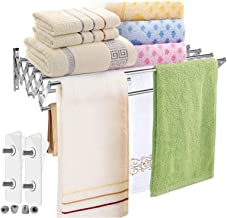 Folding Towel Rack Towel Bar Stainless Steel Wall Mount Easy to Install Very Light Hand Towel Bars Satin Nickel Water Resi...
