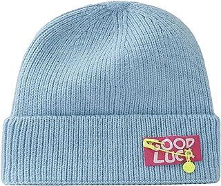 الخريف والشتاء قبعة متماسكة دافئة للرجال والنساء ، اكسسوارات دبوس ابتسامات قبة حماية الأذن تسمية قبعة باردة أزرق فاتح