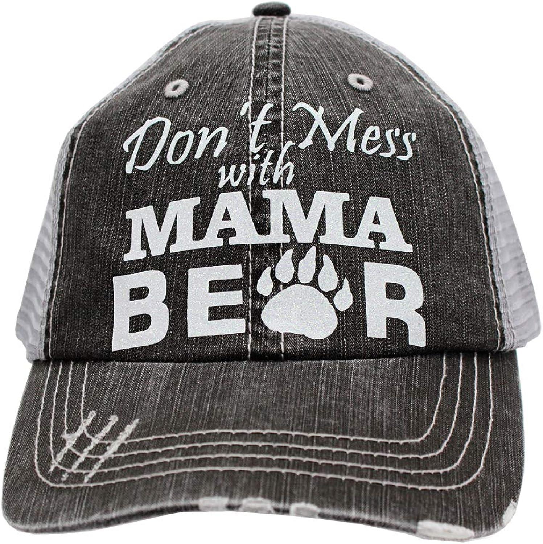 R2N fashions Don't Mess with Mama Bear Glitter Women's Trucker Hats & Caps