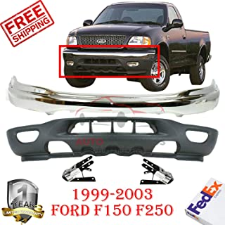 New Front Bumper Chrome For 1999-2003 Ford F150 F250 LD 2004 Heritage Lower Valance Bracket Left Hand Side & Right Hand Side Direct Replacement Set of 4 FO1066129 FO1067129 FO1002356 FO1095181
