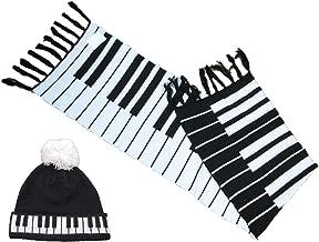 Music Office Sciarpa invernale lunga 177,8 x 43,2 cm per ragazze pianoforte tastiera e cappello