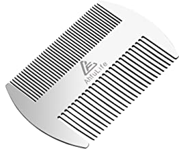 Metal Hair&Beard Comb - AhfuLife EDC Credit Card Size Comb Perfect for Wallet and Pocket - Anti-Static Dual Action Beard C...