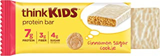 Thinkkids Protein Bars - Cinnamon Sugar Cookie 7g Protein, 3g Fiber, 4g Sugar, No Artificial Flavors or Colors, Gluten Fre...