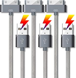 Original Certified Phone 4 Charger Cable [ 3 Pack 5 Feet ] 30 Pin to USB Fast Charge & Sync Nylon Charging Cable Cord for ...