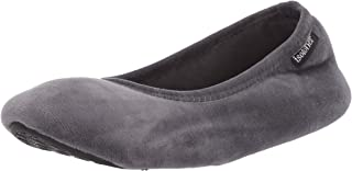 isotoner Women's Memory Foam Victoria Ballerina Slipper Stretch Velour Ballet Comfort House Shoe