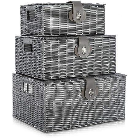 Lot de 3 boîtes de panier de rangement plastique avec couvercle et poignée latérale Boîte de rangement panier-cadeau, convient à la cuisine, au salon, à la salle de bain et à la chambre(gris)