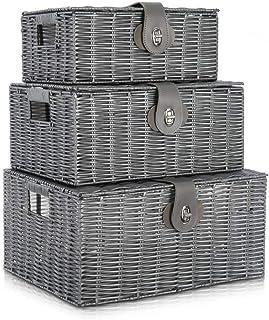 Lot de 3 boîtes de panier de rangement en rotin avec couvercle et poignée latérale Boîte de rangement panier-cadeau, convi...