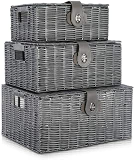 Lot de 3 boîtes de panier de rangement plastique avec couvercle et poignée latérale Boîte de rangement panier-cadeau, conv...