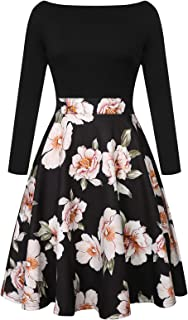 CHICIRIS Women's Vintage Patchwork Pockets Puffy Swing Casual Party Dress