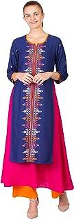 Women Straight Kurta Kurti top Tunic A-line high-Low Printed 3/4 Sleeves Kurti,