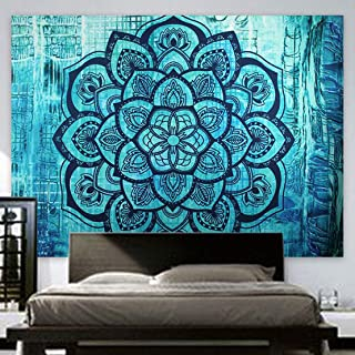 Indian Hippie Tapestry Mandala Wall Hanging Blue Lotus Bohemian Decor Psychedelic Intricate Floral Flower Wall Decor Beach Throw Bedspread Tapestries for Bedroom (82.6 x 59 inch, Turquoise Flower)