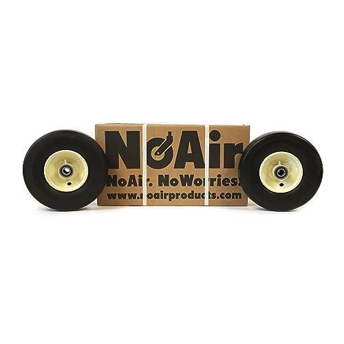 noair (2) grasshopper flat free tire wheel assemblies 9x3 50-4 part