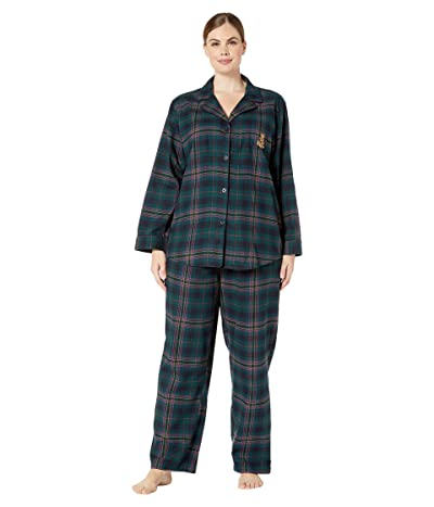 LAUREN Ralph Lauren Plus Size Brushed Twill Long Sleeve Notch Collar Long Pants Pajama Set (Green Plaid) Women