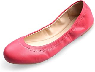 Xielong Women's Chaste Ballet Flat Lambskin Loafers Casual Ladies Shoes Leather Red 11.5